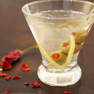 Preserved Lemon Martini with Spicy Olives.