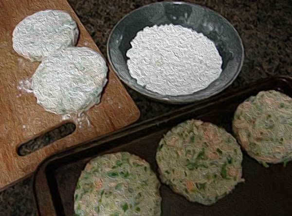 Shape the mixture into patties about 3.5 inches wide by 1 inch tall.