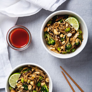 Spicy Shiitake Soba Noodles with Peanut Sauce.