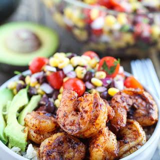 Spicy Shrimp Burrito Bowls.
