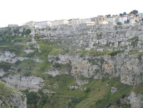 Photo: We started off on a walk to the cliff on the other side of the ravine. This is a view of Matera when we got partway down.