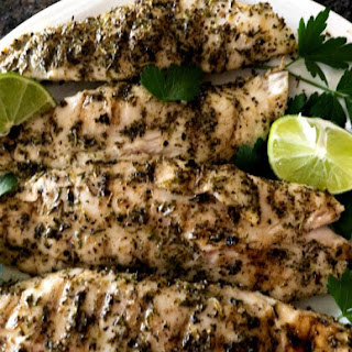 Grilled Lime Herb Fish with Truffle Oil.