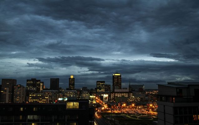 Johannesburg's CBD at night. Picture: BLOOMBERG