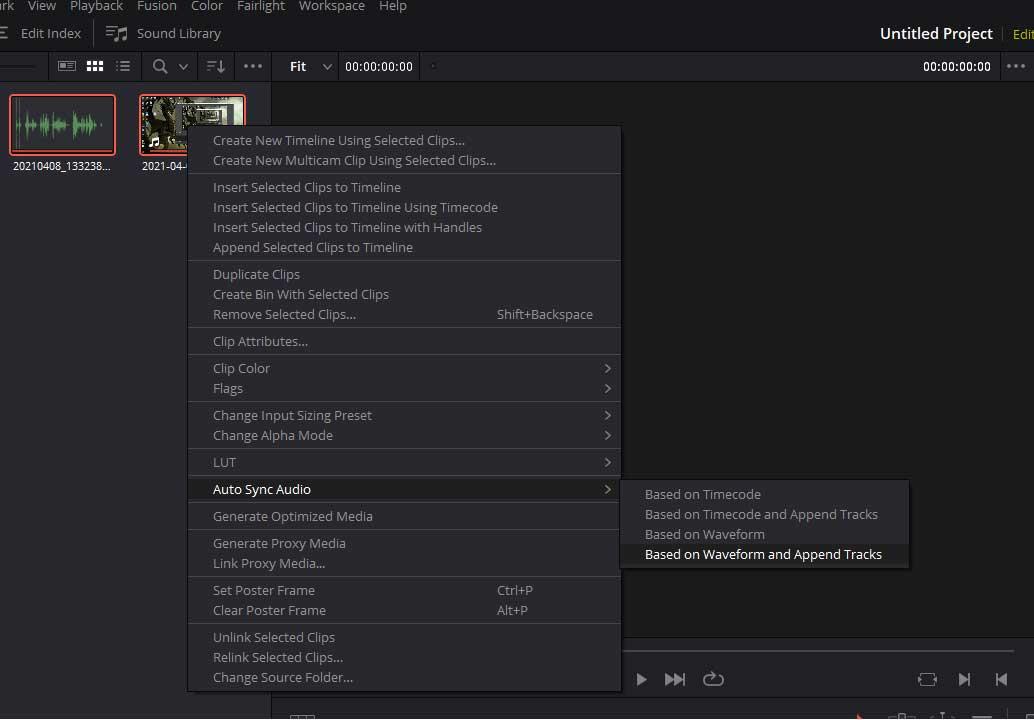 sync audio in DaVinci Resolve