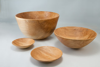 "Photo: Elliot Schantz 11"" x 6, 9"" x 3 1/2"", 5"" x 1 1/2"", 3"" x 1 1/2"" nested bowls [maple]"
