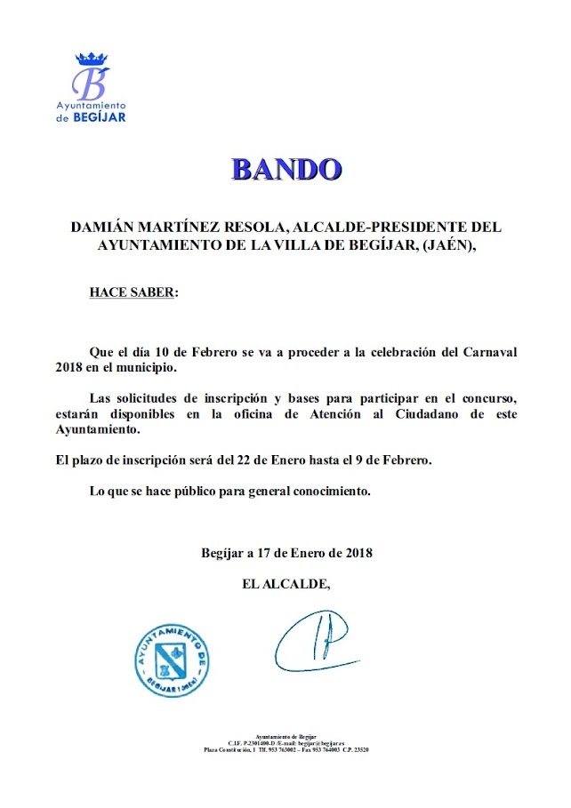 Bando Concurso Carnaval 2018