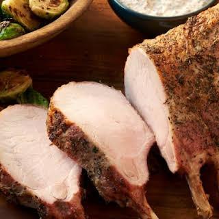Pork Rib Roast with Mustard Sauce.