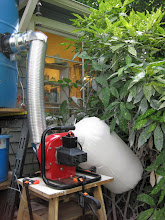 Photo: Here is the latest additions to my spray booth. The waterfall was working fine but the fan was not strong enough to exhaust the mist. So off to my friends at the Harbor. Now it works.