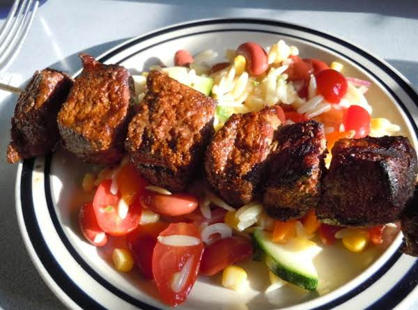 Southwestern Beef Kabobs With Corn Orzo Salad Recipe