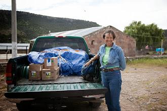 Photo: Pilar Pederson from Alpine, Texas delivers school supplies