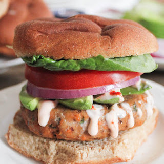 Sweet Potato and Black Bean Turkey Burgers with Sriracha-Lime Crema