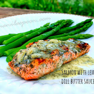 Salmon with Tangy Dill Butter Sauce.