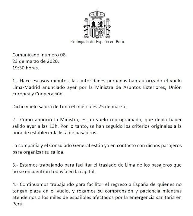 Comunicado de la Embajada de España en Perú.