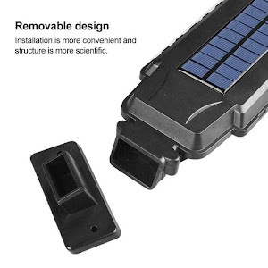 Lampa solara T-210B, 60 LED, senzor de miscare, rezistenta la apa, Negru