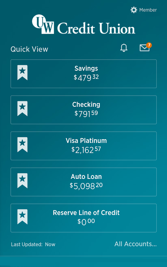 UW Credit Union- screenshot