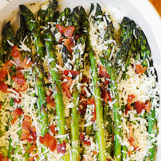 Asiago, Bacon, and Garlic Roasted Asparagus