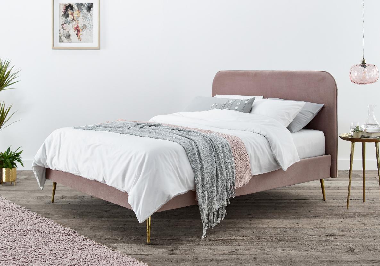 elona rosa pink velvet upholstered bed