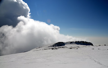 Photo: Clouds rising over Çakmak Peak with a trail to the area for our nature bathroom breaks