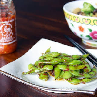 Edamame with Garlic Chili Sauce.