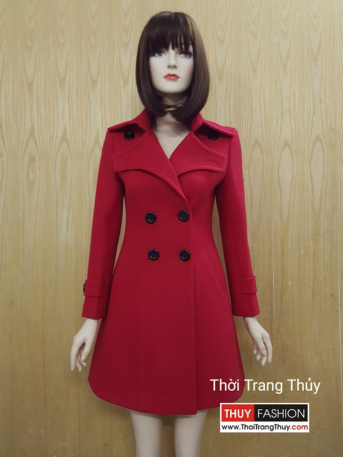 Áo khoác dạ dáng hơi xòe dài tông màu đỏ V497 Thời Trang Thủy