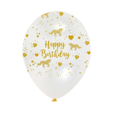 Ballonger - Happy Birthday Unicorn, guld