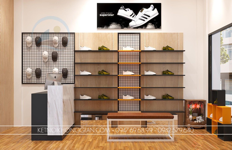 thiết kế shop giày dép nhỏ 16m2 trẻ trung