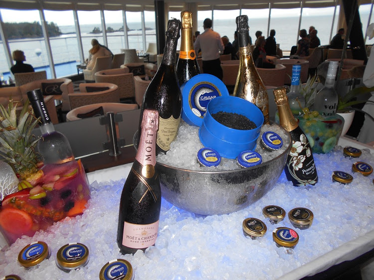 Caviar served free anywhere and anytime on Seabourn and Silversea.