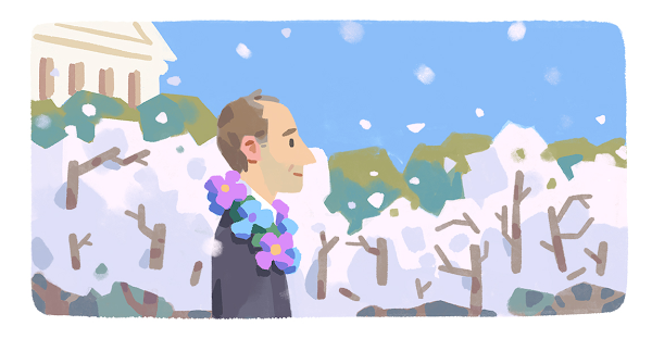A Google Doodle illustration of gay rights activist and U.S. military vet Frank Kameny wearing a floral garland as he walks amongst the blossoming cherry trees in Washington D.C.
