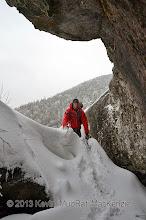 Photo: Scott entering the crevice.