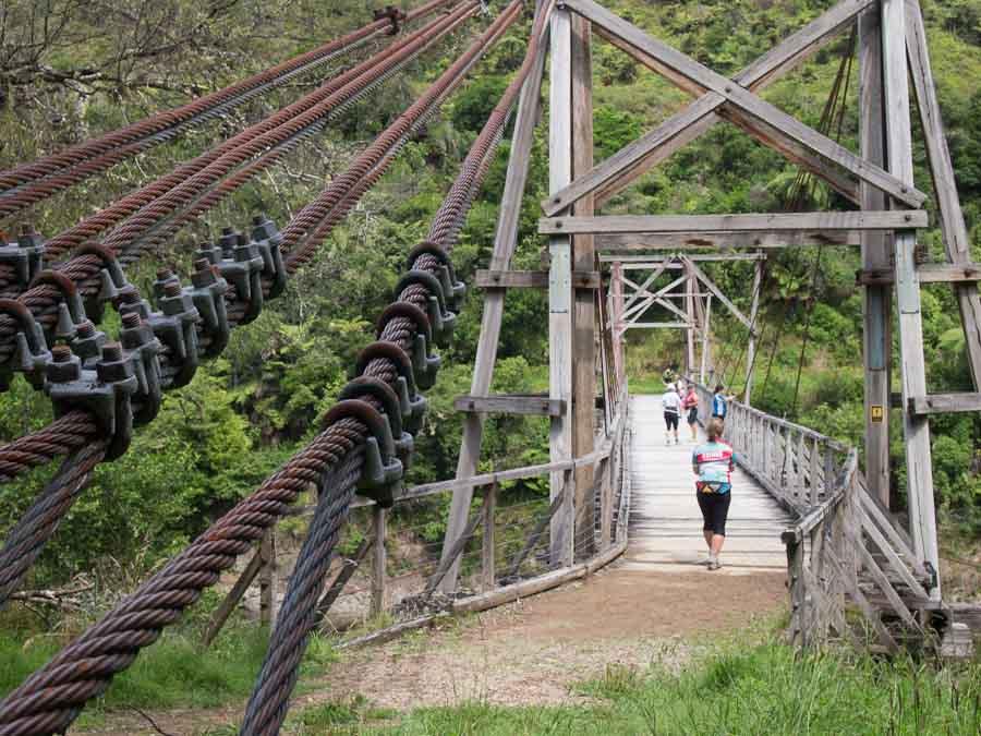 Photo: Time for a break as we investigate the historic Tauanga Bridge over Waioeka River