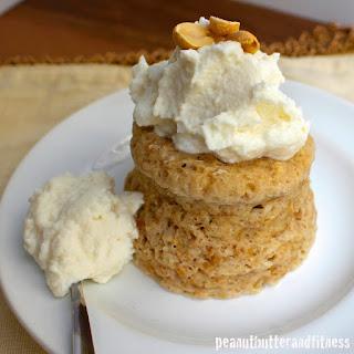 Peanut Butter Mug Cake with Vanilla Cream Frosting.