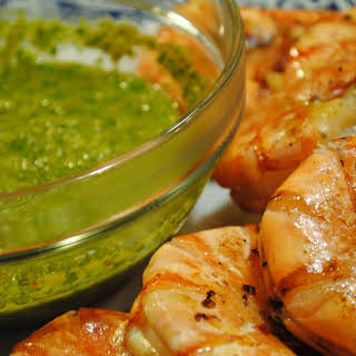 Grilled Spicy Prawns with Chimichurri.
