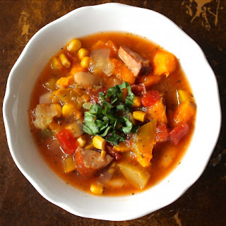 Slow Cooker White Bean, Summer Squash & Sausage Soup