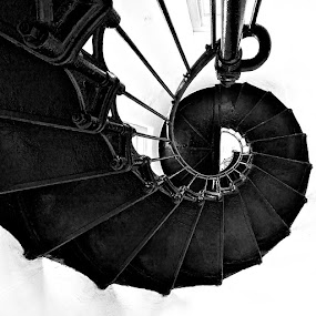 Lighthouse Stairs by Dan Warkentin - Buildings & Architecture Other Interior ( stairs, lighthouse, spiral, steel, iron )