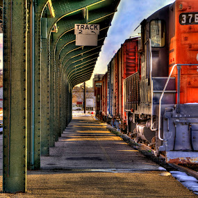 At the Station  by Rusty Sessions - Landscapes Travel ( train station, hdr, engine, train track, railroad, locomotive, 801.941.5576, train, sidewinder media, rusty sessions )