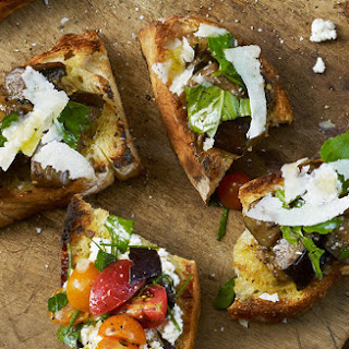 Grilled Bread with Eggplant and Basil Recipe
