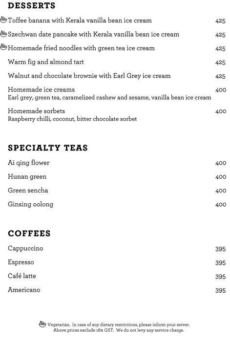Szechwan Court, The Oberoi menu 7