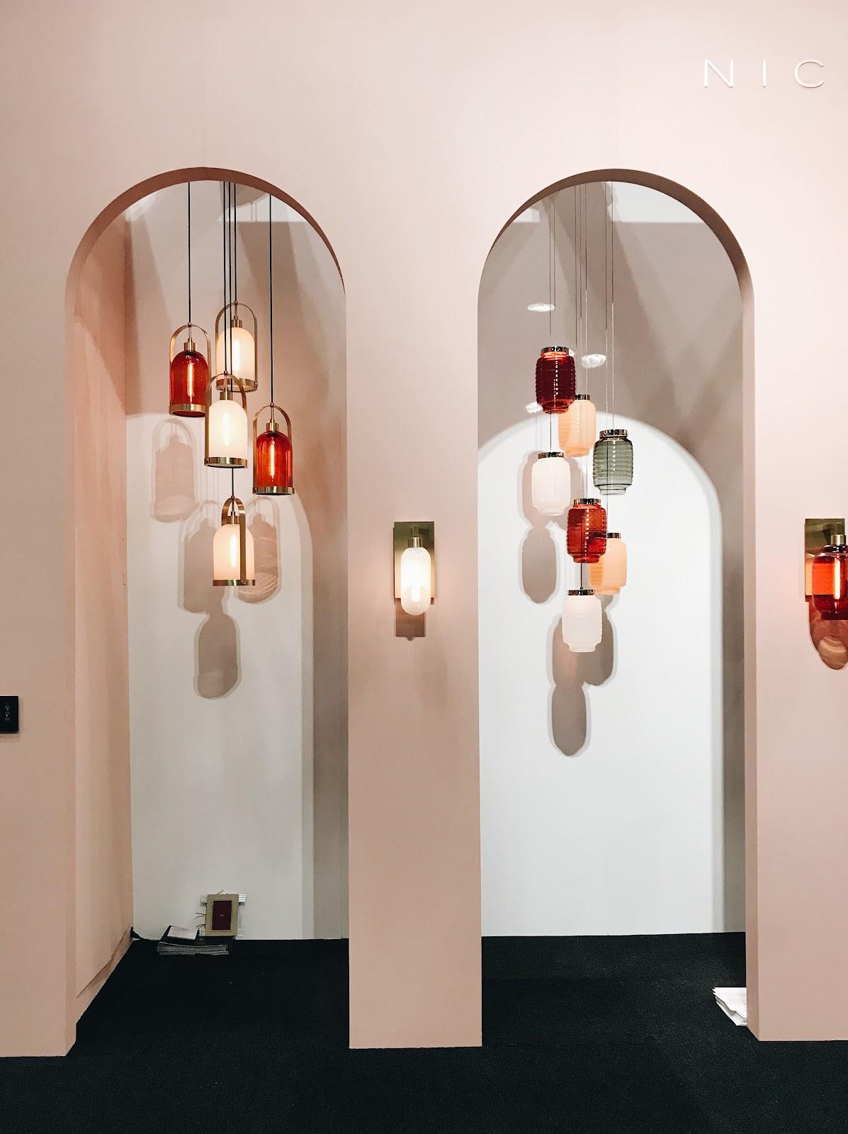 ICFF international contemporary design furniture fair waterfall hanging lantern pendants