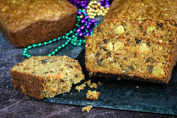 Slices Of Mardi Gras Bread On A Platter.