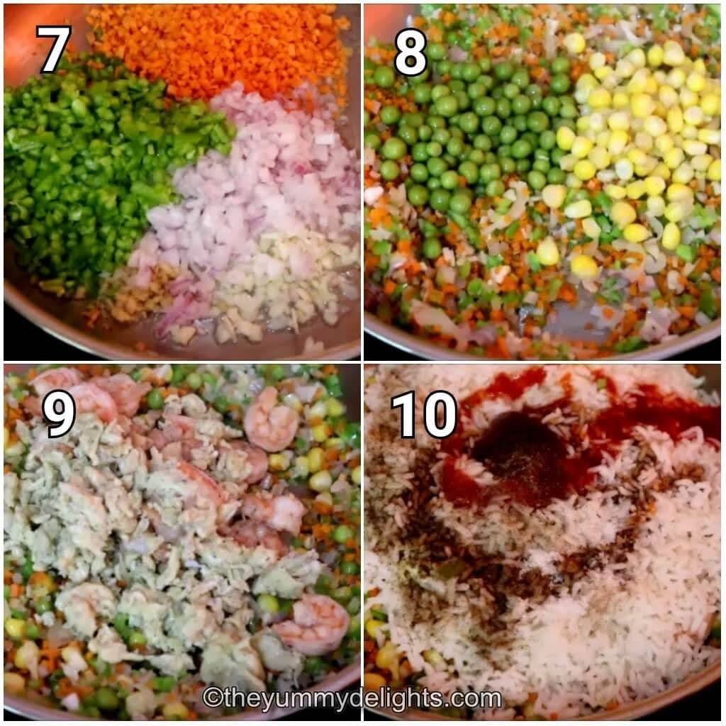 step ny step image collage of stir-frying the veggies, addition of prawns, eggs and rice to make the fried rice.