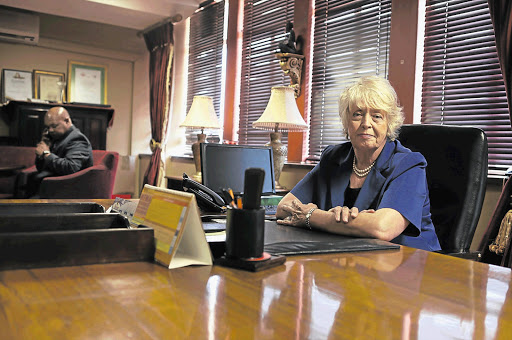 Annette Combrink, the new DA mayor of Tlokwe Municipality, at the mayoral desk. File photo.