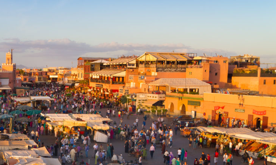 The Djema el Fna market place in Marrakesh's medina quarter.