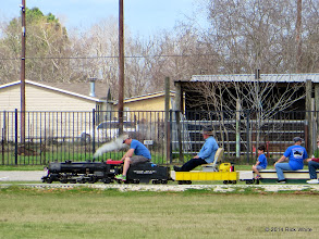 Photo: Patrick Greene V has train going again while Pete, Patrick, and Donna Greene watch.   HALS Chili Fest Meet 2014-0301 RPW at 2:18 PM