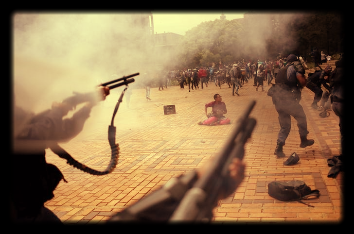 Police fire on protesters at Wits University. Picture: REUTERS, SIPHIWE SIBEKO