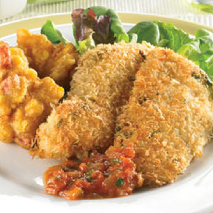 Mustard Crumb Crust Fried Chicken with Corn Fritters and Mediterranean Salsa Recipe