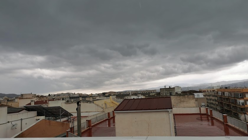Nubes sobre el cielo de Albox este mismo jueves.
