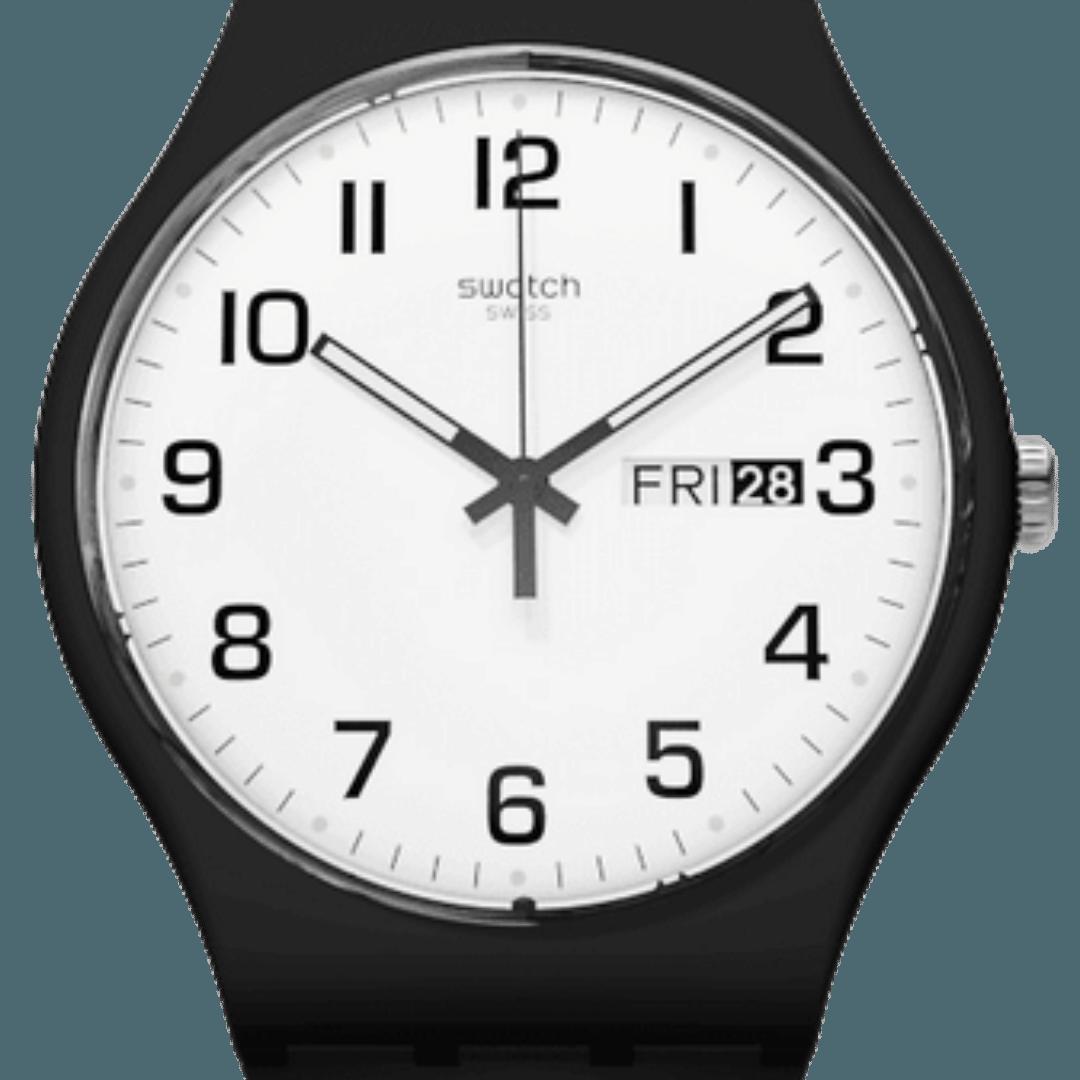 Swatch watch featuring Arabic numerals watch indices