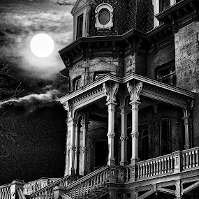 Hegeler Carus Mansion by Ted Anderson - Buildings & Architecture Other Exteriors ( moon, b&w, stairs, mansion, victorian, haunted )