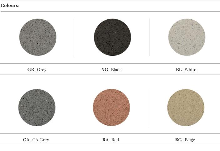 De kleur mogelijkheden voor gietbeton uit natuursteen granulaten voor de Canet zitbank uit de collectie van Escofet 1886