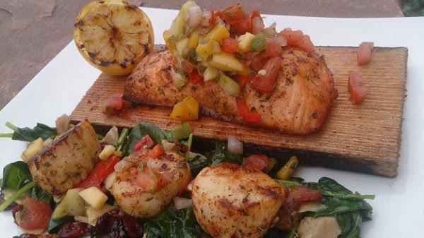 Summer Salmon & Scallops W/mango Salsa And Spinach Recipe